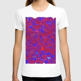 fugue in red and blue T-shirt