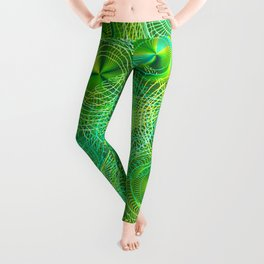 Psychedelic Swirl Abstract in Lime Leggings