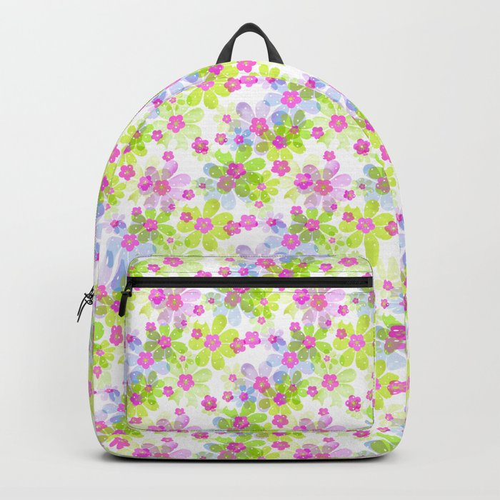Pink green flowers Backpack