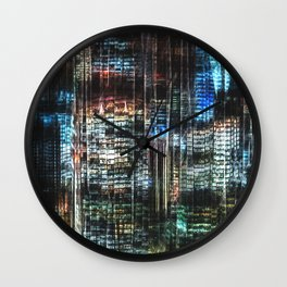 Colorful Buildings At Night Wall Clock