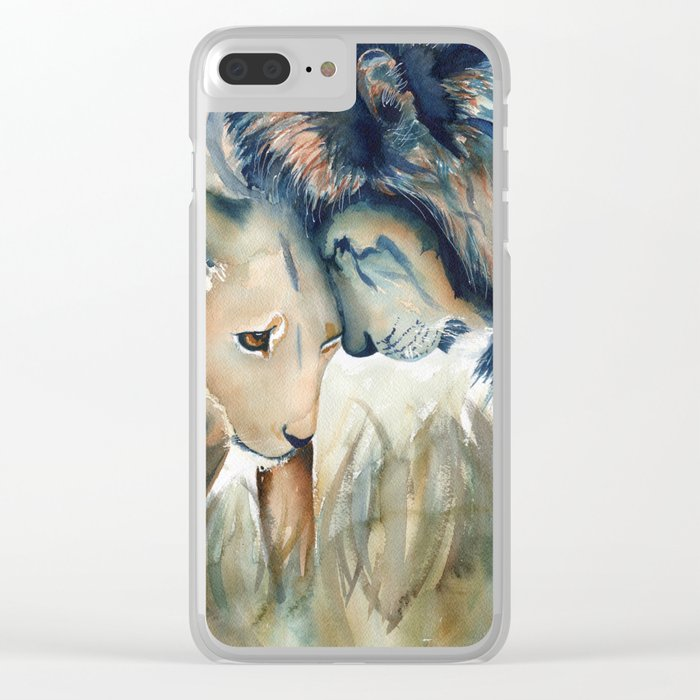 Watercolor Lion and Lioness Clear iPhone Case