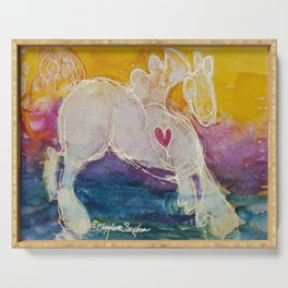 pink golden heart horse pony watercolor by CheyAnne Sexton Serving Tray