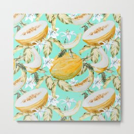 Melons with tropical flowers Metal Print