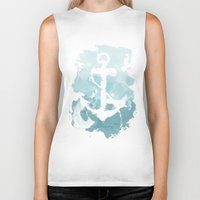 nautical Biker Tanks featuring Nautical Watercolor by joeyj