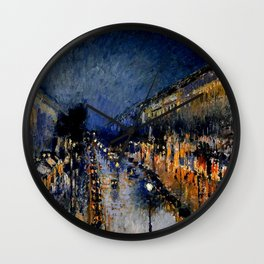 The Boulevard Montmartre At Night : Camille Pissarro Wall Clock