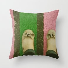 vintage pink & green Throw Pillow