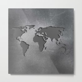 World Map Metal engraved Metal Print