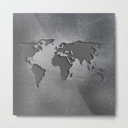 World Map Metal engraved Metal Print