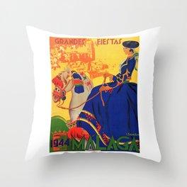 1944 Malaga Grandes Fiestas Spain Travel Poster Throw Pillow