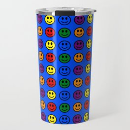 Blue Smiley Faces Pride Rainbow Colors Travel Mug