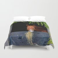 jewish Duvet Covers featuring Home is where the Horse is by Brown Eyed Lady
