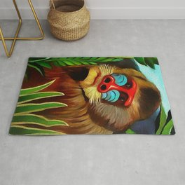 "Henri Rousseau ""Mandrill in the jungle"" Rug"