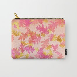 Autumn-world 1 - gold glitter leaves on pink background Carry-All Pouch