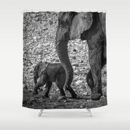 B&W Elephant Love 7 Shower Curtain