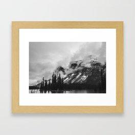 Smokey Mountains Maligne Lake Landscape Photography Black and White by Magda Opoka Framed Art Print