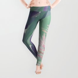 Deep Ocean River Abstract In Soft Green and Purple Leggings