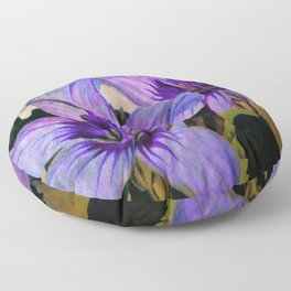 Vintage Painted Lavender Lily Floor Pillow
