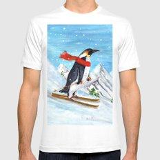 Penguin Alpine Skiing White MEDIUM Mens Fitted Tee
