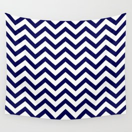 Simple Chevron Pattern - Blue & White - Mix & Match with Simplicity of life Wall Tapestry