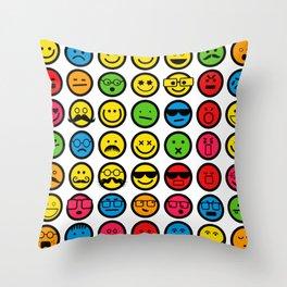 Emotional Emoticon Set Throw Pillow