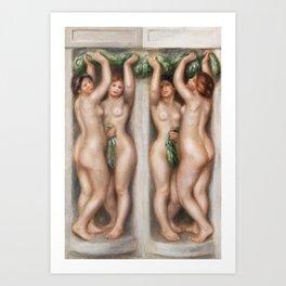 Caryatids by Pierre-Auguste Renoir Nude Painting Art Print