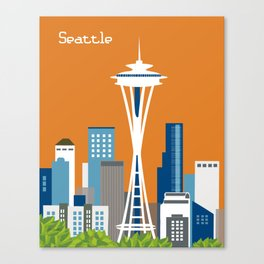 Seattle, Washington - Skyline Illustration by Loose Petals Canvas Print