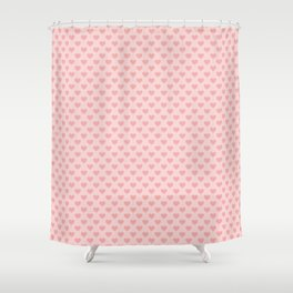 Large Blush Pink Lovehearts on Light Pink Shower Curtain