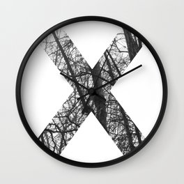 Minimal Letter X Print With Photography Background Wall Clock