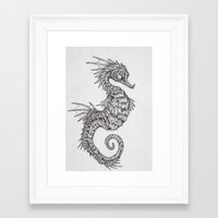 seahorse Framed Art Prints featuring seahorse by Caitlin Hackett