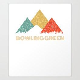 Retro City of Bowling Green Mountain Shirt Art Print