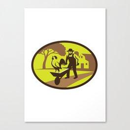 Amish Farmer Rooster Wheelbarrow Farm Oval Retro Canvas Print
