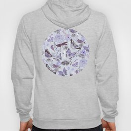 Dragonflies, Butterflies and Moths With Plants on Pale Blue Hoody
