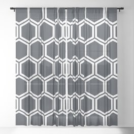 Hexagon Black Sheer Curtain