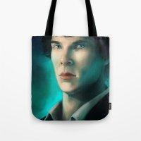 sherlock holmes Tote Bags featuring Sherlock Holmes by Elzart
