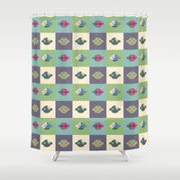 zombies Shower Curtains featuring Candy Zombies by Zeus Wares