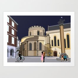 Lovers at Temple Church Art Print