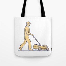 Gardener Mowing Lawnmower Drawing Tote Bag