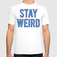 Stay Weird White MEDIUM Mens Fitted Tee