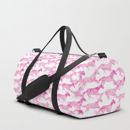 Running Watercolor Horses Pattern - Pink Duffle Bag