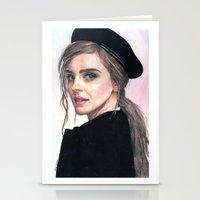 emma watson Stationery Cards featuring Emma Watson by alice kasper