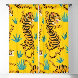 Yellow Tiger Tropical Pattern Blackout Curtain