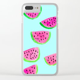Watercolor watermelon pattern Clear iPhone Case