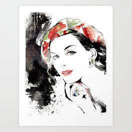 Classical Beauty, Fashion Painting, Fashion IIlustration, Vogue Portrait, Black and White, #12 Art Print