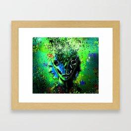 Split-face Green Framed Art Print
