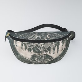 Mountains Compass Milky Way Woods Gold Fanny Pack