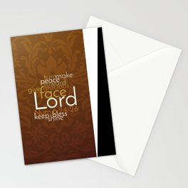 Christian Priestly Blessing Word Art on Damask Stationery Cards