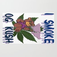 cannabis Area & Throw Rugs featuring TIMOTHY THE CANNABIS BEAR  by Timmy Ghee CBP/BMC Images  copy written