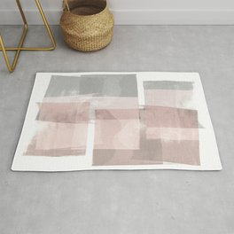 "Grey and Pink Minimalist Geometric Abstract ""Building Blocks"" Rug"