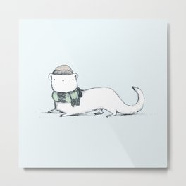 Ermine in Hat & Scarf Metal Print