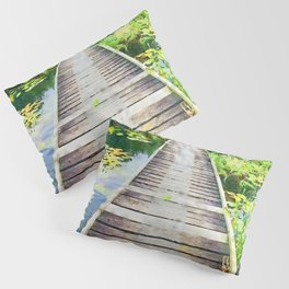Pier through waterlilies watercolor painting Pillow Sham